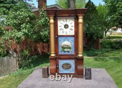 Seth Thomas Roweswood Empire 8 Day Weight Shelf Mantle Clock Painted Glass Dial