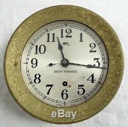 Seth Thomas Ship Clock Heavy Solid Brass Old Vtg 5165/4603