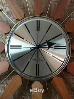 Seth Thomas Starbrite Eames Era Atomic MCM Wall Clock Starburst Sunburst 21
