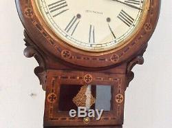 Seth Thomas USA Walnut Inlaid Drop Dial Chiming Wall Clock