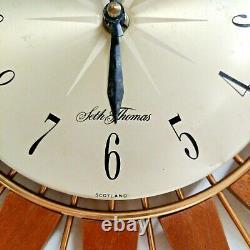 Seth Thomas Vintage Star burst /Sun burst Clock mid century teak 1960s