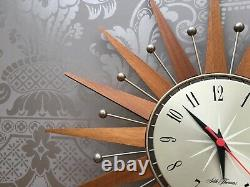 Seth Thomas Vintage Star burst /Sun burst Clock mid century teak 1960s retro