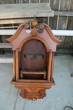 Seth Thomas antique original weight driven lunar wall clock case walnut wood