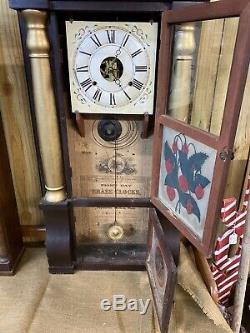 Seth Thomas c1850 Pillar Triple Window Weight Driven Shelf Mantle Clock