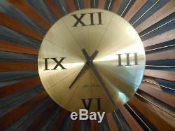 Seth Thomas starburst clock wood mcm retro Picturesque e626001 works danish mod