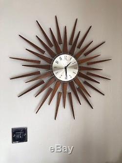 Superb 26 Vintage Retro Orginal Seth Thomas Sunburst Starburst Teak Wall Clock