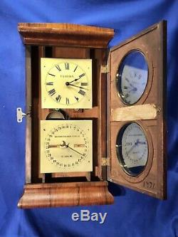 USA Seth Thomas No. 3 Parlor Calendar, Months, Day, Wall Striking Clock, walnut Case
