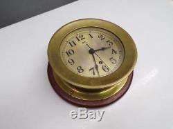 USN US Navy WW2 7 Seth Thomas Ship's Bulkhead Clock Heavy Brass Case D675