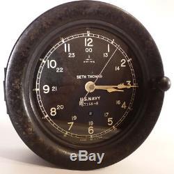 Us Navy Clock Seth Thomas Ww2-era Ship Bridge Deck Key Wind 2nd Hand Sweep Runs