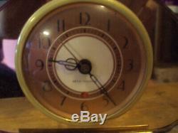 Vintage 1930s Seth Thomas Sequin Art Deco Mirrored Vanity Clock Working