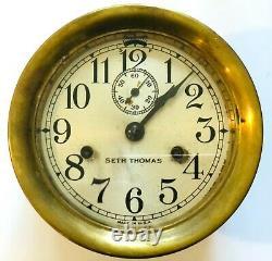 Vintage 1935 Seth Thomas Merrimac Brass Ship's Bell Porthole Clock Navy Maritime