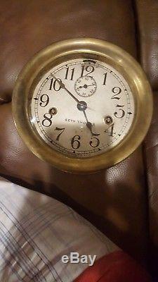 Vintage 7 Seth Thomas Brass Nautical Maritime Ships Bell Clock Navy Deco Ocean