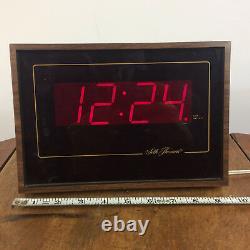 Vintage 70s 80s Large Digital Seth Thomas Mid Century Wood Grain Wall Clock