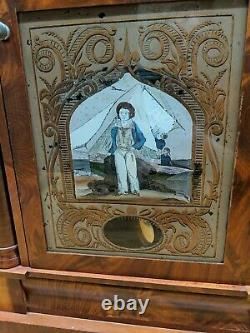 Vintage Antique Seth Thomas Ogee Weight Driven Reverse Painted Boy Boat Clock