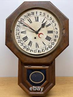 Vintage Antique Seth Thomas Wall Calendar Wood Clock