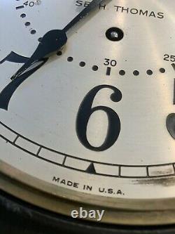 Vintage Antique Working Seth Thomas Porthole Ship Clock Broken Glass No Key