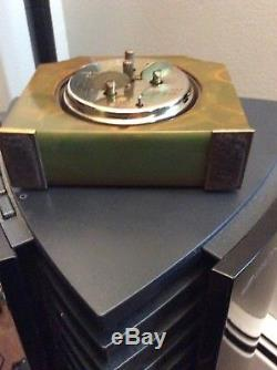 Vintage Art Deco Bakelite Alarm Clock Greenish Swirl Seth Thomas 1930's