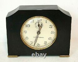 Vintage Art Deco Seth Thomas Black Catalin/Bakelite 1930's Working Alarm Clock