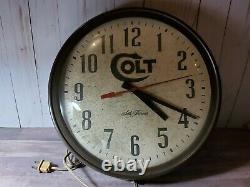 Vintage Colt Firearms Seth Thomas Advertising Wall Clock USA Armory Gun Range