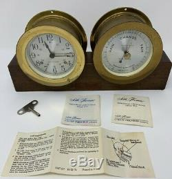 Vintage Key Wind Seth Thomas Maritime Ships Bell Clock & Barometer Set
