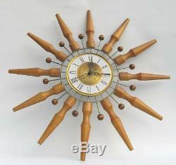 Vintage Mid Century Modern Seth Thomas Sunburst Starburst Wall Clock