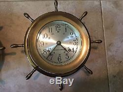 Vintage Mounted Seth Thomas Matching Helmsman Ships Bell Clock & Barometer WoW