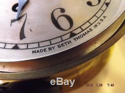 Vintage Navy Brass Ship's Clock Seth Thomas Parts or Restore
