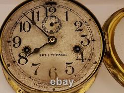 Vintage SETH THOMAS WWI Brass Marine Ship Deck Clock with Double Spring Movement