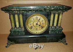 Vintage Seth Thomas 6 Column 1900 Mantle Clock Working and Chimes