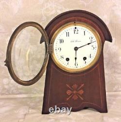 Vintage Seth Thomas Balloon Clock Inlaid Wood Case Runs Strikes Enameled Face