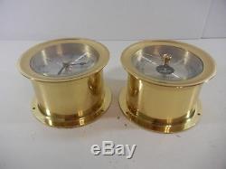 Vintage Seth Thomas Brass Corsair Maritime Ships Bell Clock / Barometer Set