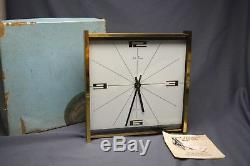 Vintage Seth Thomas Brass & Glass Mantel Clock MidCentury Modern Elomatic Box +