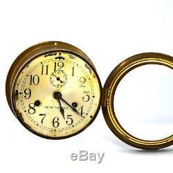 Vintage Seth Thomas Brass Ship's Bulkhead Case Clock Navy Maritime Arabic dial