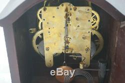 Vintage Seth Thomas Clock Mantle Mantel Time Strike Wind Up Porcelain Face Wood