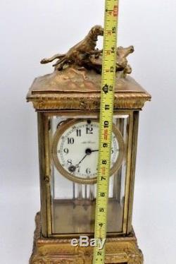 Vintage Seth Thomas Crystal Regulator Clock with Dog & Stag Deer Hunting Scene