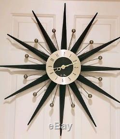 Vintage Seth Thomas Eames Era Mid Century Starburst Sunburst Atomic Wall Clock