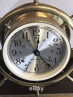 Vintage Seth Thomas Helmsman Nautical Ship Bell Clock USA & WOOD BASE & KEY
