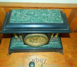 Vintage Seth Thomas Key Wind Mantle Clock With Pillars & Lion Heads