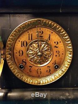 Vintage Seth Thomas Mantle Shelf Clock, Fancy Lion Heads With 4 Columns