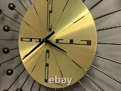 Vintage Seth Thomas Mid-Century Modern Starburst Atomic Wall Clock