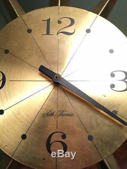Vintage Seth Thomas Mid Century Modern Starburst Starglo Wall Clock 24