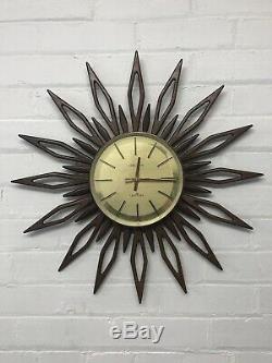 Vintage Seth Thomas Mid Century Teak Sunburst Starburst Clock 22.5 Rare
