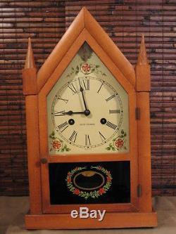Vintage Seth Thomas Rose Steeple Mantle 8-day Chiming Pendulum Clock