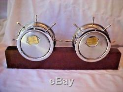 Vintage Seth Thomas Ships Bell Chiming Mantle Clock & Barometer Helmsman