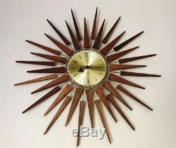 Vintage Seth Thomas Starflower Sunburst Starburst Mid Century Modern Wall Clock