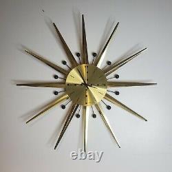 Vintage Seth Thomas Starlight Starburst Wall Clock Atomic Model E618-001 Brass