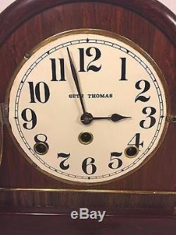 Vintage Seth Thomas Tambour Case Clock Runs & Strikes 89 AL Movement