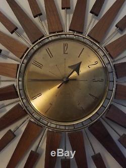Vintage Seth Thomas Wall Clock Mid Century Modern Starburst StarFlower As Is