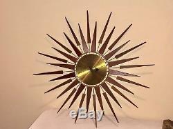 Vintage Seth Thomas Wall Clock Mid Century Modern Starburst StarFlower Repair