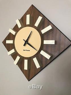 Vintage Seth Thomas Wall Clock Mid Century Modern Starburst Sun WORKS